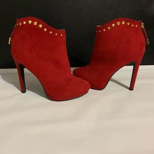 Mossimo Red Suede Stiletto Heel Ankle Boots!!!